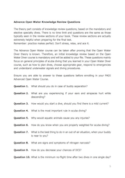 Advanced Open Water Practise Questions